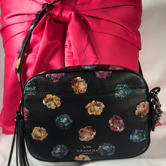 eea37e5c7c3 Coach Bags | Rose Print With Leather Sequins Camera Bag | Poshmark